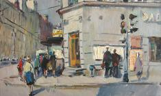 Alexander Semenov.  On Staronevsky Avenue. Oil on canvas, 42х51,8. 1968