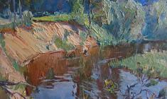Александр Семёнов. Oredezh River. Oil on cardboard, 40х44. 1980