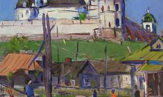 Arseny Semionov. Ancient Pskov. Oil on canvas,  64х58. 1960