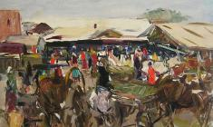 Arseny Semionov. Pskov Market. Oil on cardboard, 34,7х48,7. 1958