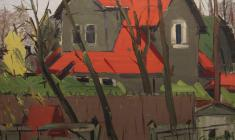 Arseny Semionov. Red Roofs.  Oil on canvas, 47,5х74. 1964