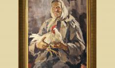 Lev Russov (1926 - 1988).  Aunt Polya with Hen. Oil on canvas, 108х84. 1961. Price on request