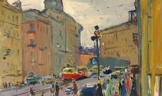 Alexander Semenov. Sadovaya Street in Leningrad.  Oil on canvas, 52х40. 1973