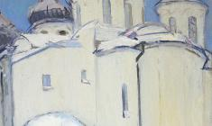 Arseny Semionov.  Saint Sophia Cathedral in Novgorod. Oil on canvas, 68х60. 1966