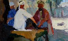 Victor Otiev. Samarkand. Tea-House.  Oil on cardboard,19х24,5.,1959
