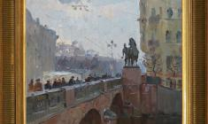 Alexander Semenov (1922 - 1984). Anichkov Bridge in Leningrad. Oil on cardboard, 1960. Price on request