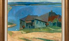Sergei Osipov (1915 - 1985). Houses on the Volga. Oil on canvas, 57х66. 1959. Price on request