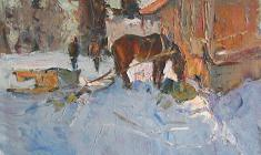 Alexander Semenov. Etude with a Horse. Oil on cardboard, 37,5х49,5. 1972