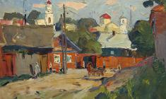 Alexander Semenov. Street in the old Torzhok. Oil on canvas, 41х58. 1966