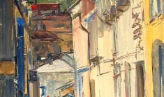 Arseny Semionov.  Street in Yalta. Oil on cardboard, 69х49,3. 1964