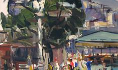 Arseny Semionov. Street in Yalta. Oil on cardboard, 49х35. 1959