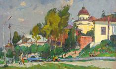 Alexander Semenov.  Sunny Day in Torzhok.  Oil on canvas, 55х83. 1973