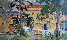 Alexander Semenov. The Chinese village in Pushkin. Oil on cardboard, 39х59,5. 1967