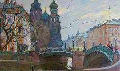 Alexander Semenov. The Leningrad Bridges. Oil on canvas, 60х72. 1977