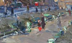 Arseny Semionov. Leningrad Theme. Oil on cardboard, 50,5х34,8. 1957