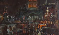 Alexander Semenov. Night at St. Isaac's Square. Oil on cardboard, 60х60. 1978