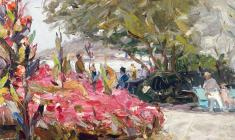 Arseny Semionov. Yalta. In the Park. Oil on cardboard, 34,5х49,5. 1959