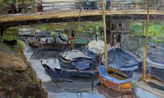 Arseny Semionov. Theme with the boats. Oil on cardboard, 35х50. 1956