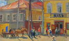 Alexander Semenov.Torzhok in the Morning.  Oil on canvas, 75х54,5. 1972