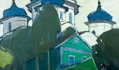 Arseny Semionov. View of the Cathedral in Torzhok. Oil on canvas, 60х59,5. 1971
