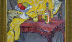 Rostislav Vovkushevsky (1917-2000). Still-life with Yellow Material. Oil on canvas, 81 x 96. 1981.  Price on request.