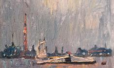 Alexander Semenov. Ships on the Neva. Oil on cardboard, 18,5х23,4. 1976