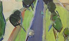 Arseny Semionov. West-Ukrainian Landscape with a Road.  Oil on canvas,  73,5х45. 1966