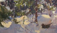 Alexander Semenov. Winter Forest. Oil on cardboard, 49,5х70. 1963