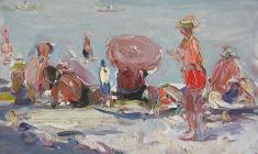 Arseny Semionov.  Beach in Yalta. Oil on cardboard, 25х35,4. 1956