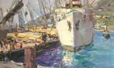Arseny Semionov.  Yalta Cargo Port. Oil on cardboard, 35х49,4. 1959