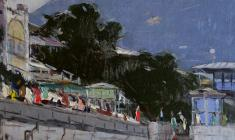 Arseny Semionov. Embankment in Yalta. Oil on canvas,  42х61. 1959