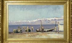 Vyacheslav Zagonek (1919 - 1994). Fishermen of Issyk-Kul Lake. Oil on canvas, 31,5х53. 1954. Price on request