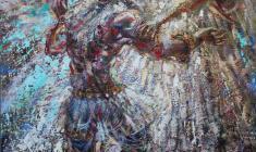 Jacob's Struggle with God. Oil on canvas.53х42.1997