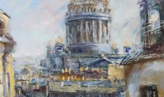 Isaac's Cathedral in the morning. Oil on canvas. 40х30. 2005