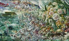 Flood. Oil on canvas. 50х100.1990