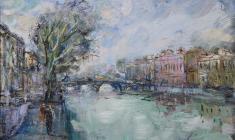Fontanka River.Oil on canvas. 30х40. 2002