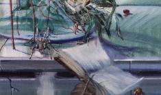 Reading on a White Night. Oil on canvas. 70х50.2004.  Fr.1